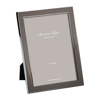 "Enamel Range Photograph frame, 8 x 10"" with 15mm border, taupe with silver plate"