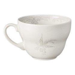 Dove Grey Asiatic Pheasants Breakfast cup, 420ml, grey/white
