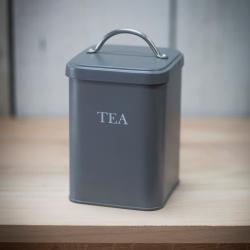Tea canister, H20 x W12 x D12cm, Charcoal