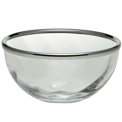 Spiral Bowl, 20cm, Crystal With Silver Rim