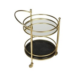 Kensington Two tier drinks trolley, H75 x W55 x D43cm, brass/black