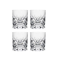 Sofiero Set of 4 Old Fashioned Whisky Glasses, 25cl - H8.5 x W7.5cm, glass