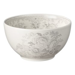 Dove Grey Asiatic Pheasants Small footed bowl, 16cm, grey/white