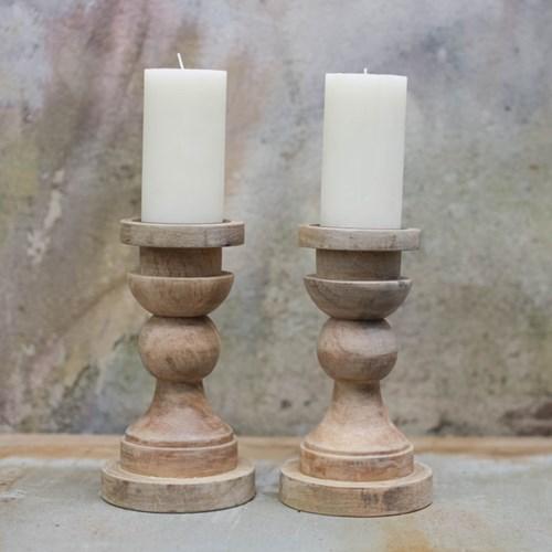 Kibibi Single Candlestick, 23 x 13cm, mango wood