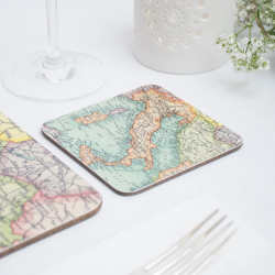 Set of 12 personalised map coasters, 10 x 10cm