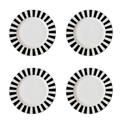 Stripy Set of 4 tea plates, Dia19cm, Black/White