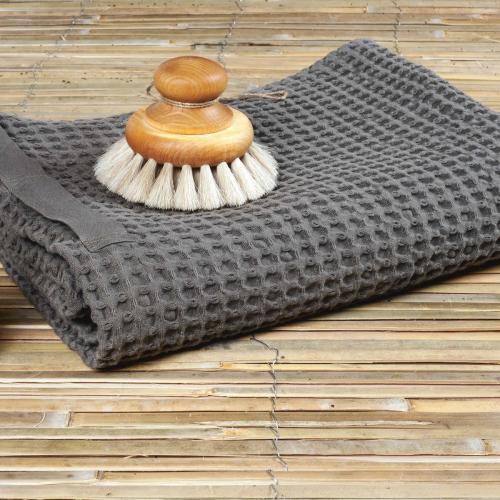 Waffle Bath towel, 150 x 50cm, dark grey