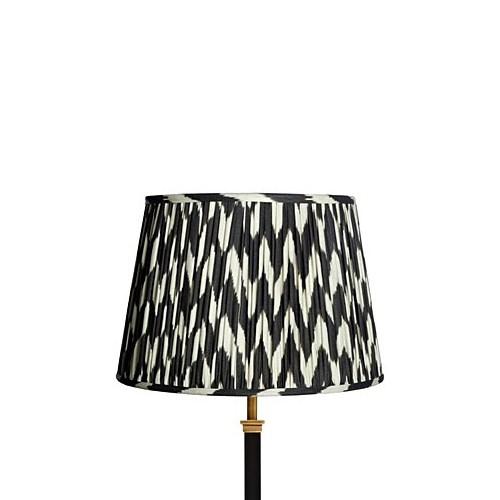 Straight Empire Ikat printed lampshade, 30cm, black zig-zag linen