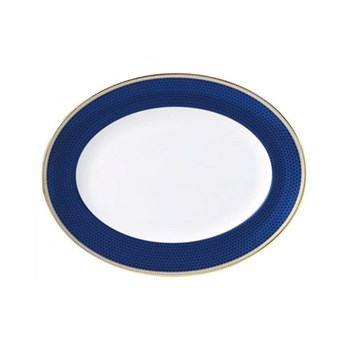 Hibiscus Oval dish, 35cm, blue