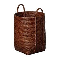 Tisser Small laundry basket, L38 x W38 x H53cm, brown rattan