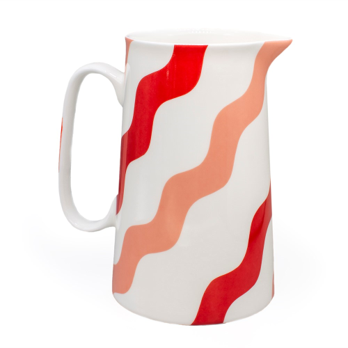 Scallop Collection Jug, H18cm, Pink & Red
