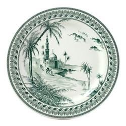Les Depareillées - Vues d'Orient Set of 6 dinner plates, 27cm, green