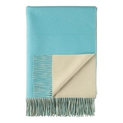 Plain Reversible double face throw, 190 x 140cm, aqua / lemon grass