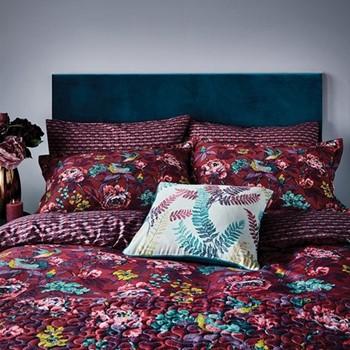 Oriental Peony Double duvet cover, L200 x W200cm, berry