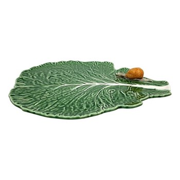 Cabbage Leaf platter with snail, 39.5 x 35.5 x 4.5cm, green