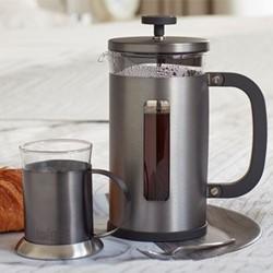 Edited - Pisa 8 cup cafetiere, H17 x W15 x L15cm - 1 Litre, gun metal
