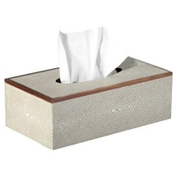 Faux Shagreen Tissue box holder, L25 x W14 x H9cm, taupe