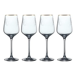 Henry Cole Set of 4 red wine glasses, H27 x W18 x L18cm, metallic grey