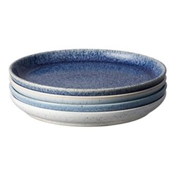Studio Blue 4 piece coupe dessert plate set, 21 x 2.5cm, mixed