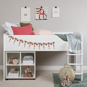 Juicy Fruits Mid-sleeper with right-hand ladder, L196 x W98 x H119cm, silk white