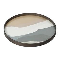 Wabi Sabi Round glass tray, D61 x H4cm, slate