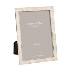 """Mother of Pearl Photograph frame, 5 x 7"""", silver/cream"""