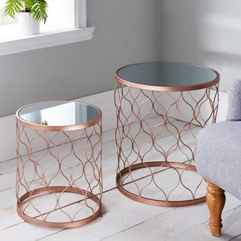 Pair of side tables, L45 x W45 x D50cm, copper