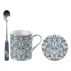 William Morris Mug, coaster and spoon gift set, H11 x W17 x L13cm, blue