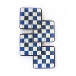 Royal Check Set of 4 coasters, L10.16 x W10.16cm, blue & white