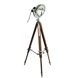 Chicago Tripod floor lamp, L50 x W50 x H137-169cm, silver/wood