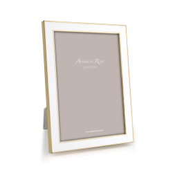 """Enamel Range Photograph frame, 7 x 5"""" with 15mm border, White With Gold Plate"""