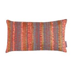 Textured Stripe Cushion, H30 x W50cm, paprika/storm
