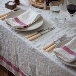 Arles Raspberry Stripe Table Linen
