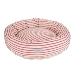 Organic Ticking Cranberry Donut Dog Beds