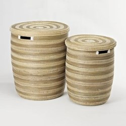 African Grey Stripe Laundry Baskets