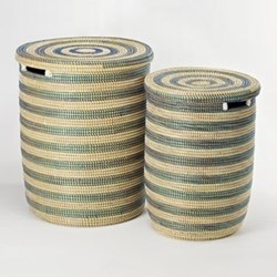 African Blue Stripe Laundry Baskets