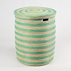 African Mint Stripes Laundry Baskets