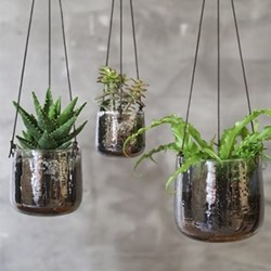 Viri Aged Silver Hanging Planters
