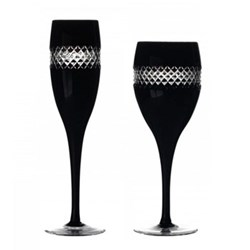 Black Cut Coloured Stemware