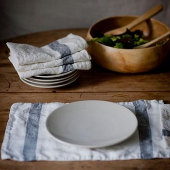 Arles Charcoal Stripe Table Linen 350