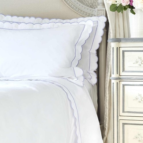 Scalloped Bed Linen - Lilac